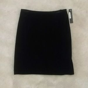 NWT Tahari ASL Petite Black Velvet Midi Skirt